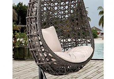 Destiny Hängesessel Coco, Kunststoff, grau, inkl. Sitz- und Rückenkissen 1 Stuhl, dunkelgrau