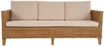 Rattan-Sofa 3-Sitzer LOUNGE in der Farbe Honig inkl. Sitzpolster Beige, Couch aus echtem Rattan