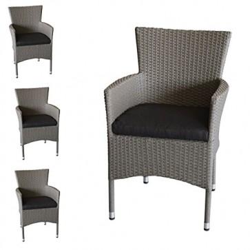 Wohaga 4X Polyrattan Sessel stapelbar Rattansessel grau-meliert inklusive schwarzen Sitzkissen Gartensessel Stapelstuhl Gartenstuhl Rattanstuhl