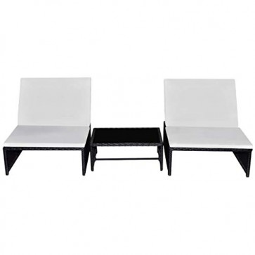 vidaXL Poly Rattan Lounge Set Schwarz Zweisitzer Sonnenliege Hollywoodschaukel