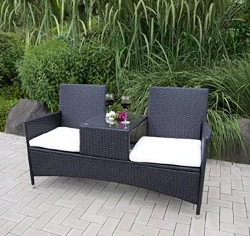 2Sitzer Gartenbank Genua 153x63x87cm Polyrattan grau Glastisch Tete-a-Tete-Bank
