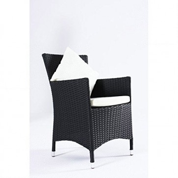 OUTFLEXX 2er-Set Sessel aus hochwertigem Polyrattan in schwarz ca. 60 x 60,5 x 86,5 cm, inkl. weichen Polster und Kissen, Gartenstühle in modernem Design, zeitlos, vielseitig kombinierbar, wetterfest