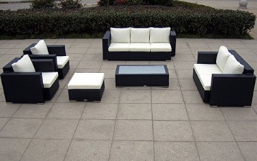 Baidani Elegante Rattan Lounge-Garnitur Daylight, 21-teilig, schwarz