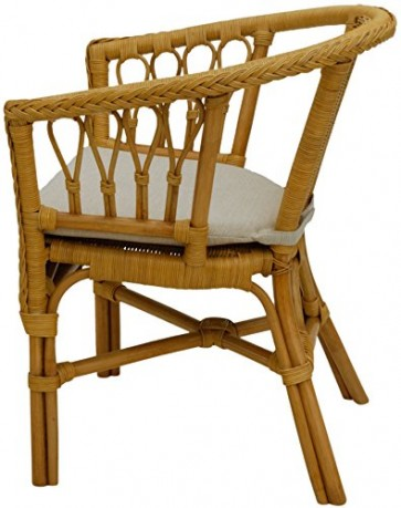 korb.outlet Stapelbarer Rattan-Sessel/Stuhl aus Natur-Rattan inkl. Polster in der Farbe Honig