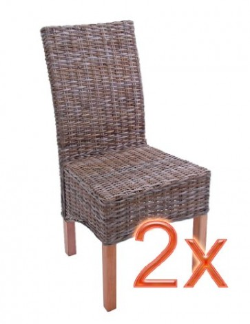 Mendler 2X Esszimmerstuhl Korbstuhl Stuhl M44, Kubu-Rattan ~ ohne Sitzkissen