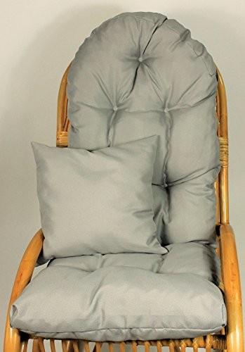 Auflage / Polster für Schaukelstuhl , Liegestuhl , Ersatzpolster Gr. 130 x 50 x 12 cm, Fb. grau + Zierkissen 40 x 40 cm