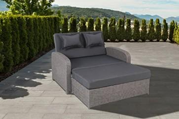 greemotion 3-in-1 Rattan Gartensofa Bali in Grau - 2-Sitzer Lounge Sofa & Bett, Rückenlehne  verstellbar - Loungemöbel ausziehbar mit Auflagen für Terrasse & Garten
