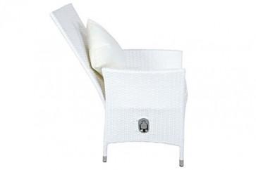 OUTFLEXX 2er-Set Sessel aus hochwertigem Poly-Rattan in weiß, 66,5 x 70 x 110 cm, inkl. weichen Kissen/Polster, Gartenstuhl mit verstellbarer Lehne, zeitlos, vielseitig kombinierbar, wetterfest