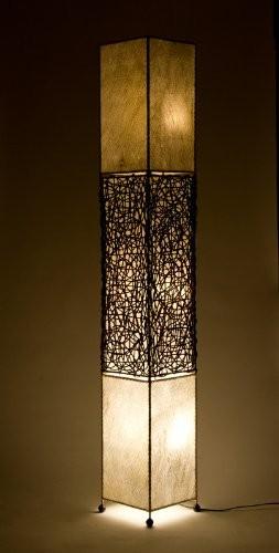 Rattan - Kokos Stehleuchte `Sumatra dunkel` / Naturelights Standleuchte 170 cm hoch, 3 Elektriken, Kokos und Rattan