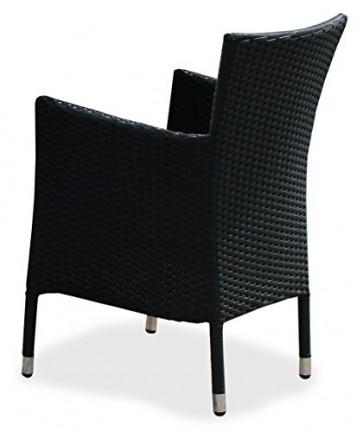 KMH®, schwarzer Polyrattan Gartenstuhl/Stapelstuhl Holme (#106009)