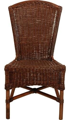 Mehrfarbiger Rattan Esszimmer-Sessel/Küchenstuhl hohe Rückenlehne/Hoher Esszimmer-Stuhl mit Armlehne/Korbsessel aus Natur Rattan (Braun, ohne Armlehne)