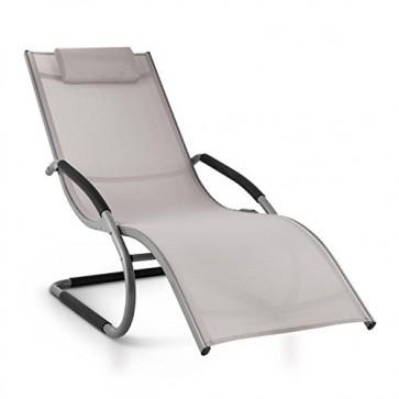 Blumfeldt Sunwave • Gartenliege • Liegestuhl • Schaukelliege • Relaxstuhl • ergonomische Wellenform • Kunststoffstopper • Aluminiumrohr-Konstruktion • atmungsaktives Kunststoffgewebe • witterungsbeständig • maximale Belastung: 180kg • grau