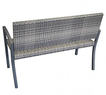 DEGAMO Geflechtbank Barcelona 2-sitzer, Aluminium + Polyrattan Geflecht grau Bicolor