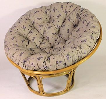 Rattan Papasan Sessel inkl. hochwertigen Polster , D 110 cm , Fb. honig , Polster Lavendel