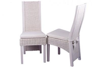 moebel direkt online Rattanstuhl 2er-Set _ Stühle im 2er Pack _ Massivholzstühle mit Rattan handgeflochten _ weiß gewischt