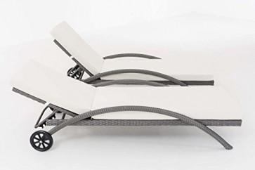 CLP 2x Poly-Rattan Sonnenliege RAINBOW mit Rollen, Gartenliege stapelbar, Auflagen 7 cm dick grau
