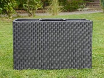 Raumteiler DELUXE L110x B40x H60 cm aus Polyrattan in schwarz inkl. 3x Einsätze