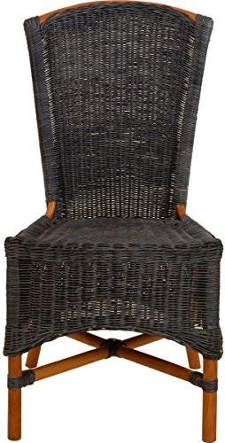 Mehrfarbiger Rattan Esszimmer-Sessel/Küchenstuhl hohe Rückenlehne/Hoher Esszimmer-Stuhl mit Armlehne/Korbsessel aus Natur Rattan (Blau - Braun, ohne Armlehne)