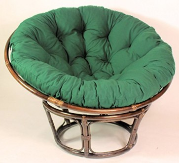 Rattan Papasan Sessel inkl. hochwertigen Polster , D 110 cm , Fb. darkbrown , Polster dunkelgrün