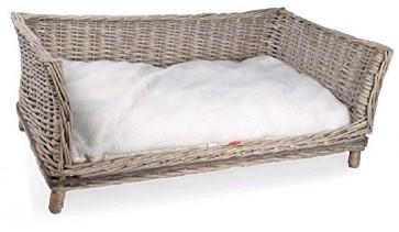 Hundesofa Weide Rattan Weidenkorb Hunde Korb Couch Bett Hundekorb mit Kissen (Gr.2)