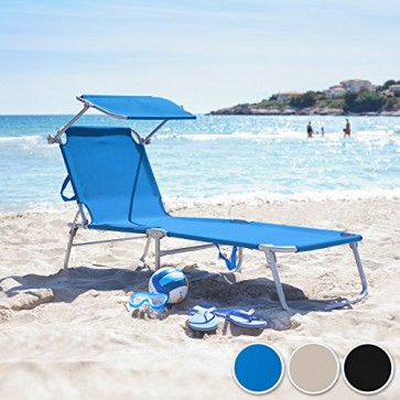 TecTake® Gartenliege Sonnenliege Strandliege Freizeitliege mit Sonnendach 190cm schwarz