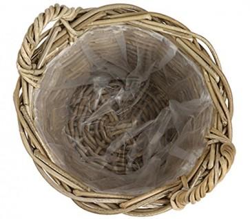 Dehner Rattankorb mit Henkeln, Ø 40 cm, Höhe 30 cm, Rattangeflecht, grau/braun