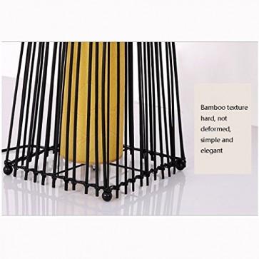 TangMengYun Südostasien Rattan Stehlampe, Pastorale Standard Lampe für Wohnzimmer Esszimmer, schwarze Stehleuchte mit Fußschalter (D26 * H138CM)