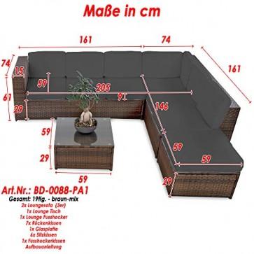 XINRO® 19tlg XXXL Polyrattan Gartenmöbel Lounge Sofa günstig - Lounge Möbel Lounge Set Polyrattan Rattan Garnitur Sitzgruppe - In/Outdoor - handgeflochten - mit Kissen - braun