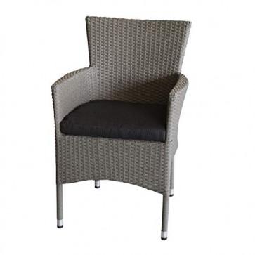 Wohaga Polyrattan Sessel stapelbar Rattansessel grau-meliert inklusive schwarzen Sitzkissen Stapelstuhl Gartenstuhl Rattanstuhl