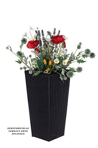 Geflecht-Pflanzsäule SDH17145 A- Schwarz Pflanzkübel Pflanzgefäße Blumenkübel Blumentopf für Blumen Polyrattan inkl Zinksätze für innen und außen, Schwarz, extra breit , Standfest. Fußbodenschonend (Größe L 41cm H x 22cm B)