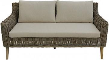 """Geschmackvolles Sofa """"Loui"""" aus hochwertigem Natur-Rattan / Elegante Couch für stilbewusstes Einrichten (Grau)"""