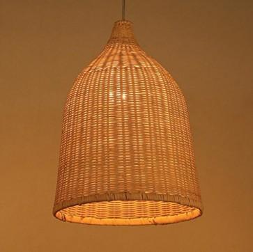 Sai Tai@LED Pendelleuchte Höhenverstellbar Küchen Deckenleuchte Wohnzimmer Designleuchte Deckenlampe Schlafzimmer Modern ,braun,Bambus und Rattan,28cm*38cm