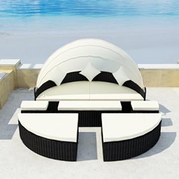 vidaXL Sonneninsel Poly Rattan Lounge Sonnenliege Gartenliege Gartenlounge Sitzgarnitur