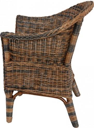 Rattan-Sessel Natur Korb-Sessel Rattansessel Rattanstuhl mit Armlehnen Lounge Flechtsessel (Schwarz-Braun, mit Polster)