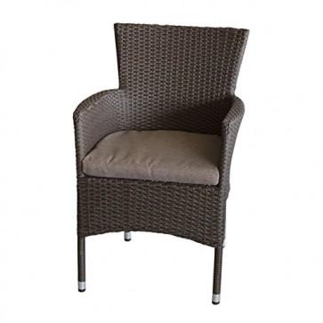 Wohaga Polyrattan Sessel stapelbar Rattansessel braun-meliert inklusive Sitzkissen Gartensessel Stapelstuhl Gartenstuhl Rattanstuhl