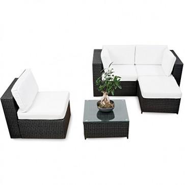 XINRO® erweiterbares 15tlg. Balkon Polyrattan Lounge Ecke - schwarz - Sitzgruppe Garnitur Gartenmöbel Lounge Möbel Set aus Polyrattan - inkl. Lounge Sessel + Ecke + Hocker + Tisch + Kissen