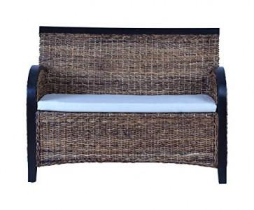 MiaMöbel Sofa 115x80x60 cm Modern 100% Baumwolle Bananenblatt-Geflecht Rattan Natur