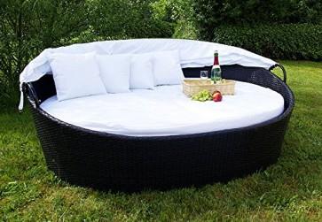 Sonneninsel aus Poly Rattan mit aufklappbarem Sonnendach - weiß - Sonnenliege Rattanbett Lounge Gartenliege Liegeinsel Gartenmuschel Gartenlounge