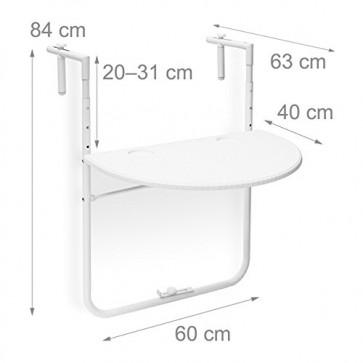 Relaxdays Balkonhängetisch BASTIAN klappbar, 3-fach höhenverstellbarer Klapptisch, Tischplatte B x T: 60 x 40 cm, weiß