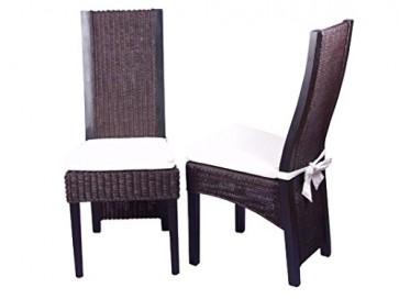 moebel direkt online Rattanstuhl 2er-Set _ Stühle im 2er Pack _ Massivholzstühle mit Rattan handgeflochten _ In beige oder braun lieferbar braun
