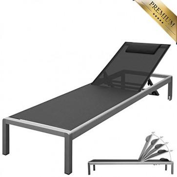 """PREMIUM XXL Aluminium-Liege """"Monaco"""" ca. 160 kg belastbar, mit Räder und Nackenrolle, bestens für den gewerblichen Einsatz geeignet, 5-fach verstellbare Rückenlehne (ganz flach), Alu, rollbar, Bezug Schwarz"""