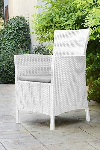 Allibert Dining Sessel Iowa, Weiß, Stuhl Kunststoff, bequeme und robuste Kunststoffstühle Garten