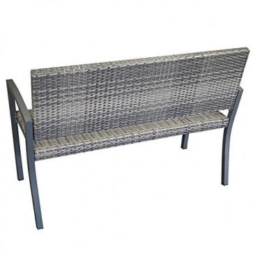 Gartenbank BARCELONA 2-Sitzer, Polyrattan Geflecht, grau-bicolor