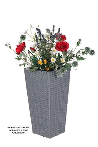 Geflecht-Pflanzsäule SDH17145 C Hellgrau Pflanzkübel Pflanzgefäße Blumenkübel Blumentopf für Blumen Polyrattan inkl Zinksätze für innen und außen,extra breit , Standfest. Fußbodenschonend (Größe L 41cm H x 22cm B)