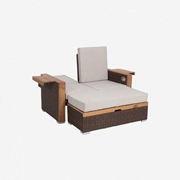 greemotion 128521 Gartensofa BAHIA LANZAROTE-Lounge Sofa Garten & Terrasse-Outdoor Daybed 2 Sitzer-Rattan Couch mit Hocker & verstellbare Rückenlehne, Braun, 13 x 8 x 6,2 cm