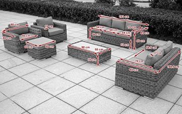 Baidani Gartenmöbel-Sets 10a00002 Designer Lounge-Garnitur Escape, 3-er-Sofa, 2-er-Sofa, 2 Sessel, Hocker mit Auflage, 1 Couch-Tisch mit Milchglasplatte, braun