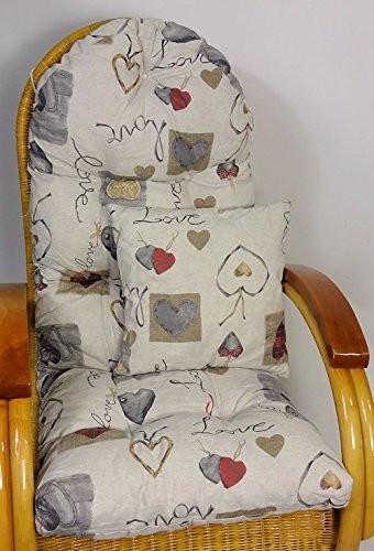 Auflage / Polster für Schaukelstuhl , Liegestuhl , Ersatzpolster Gr. 130 x 50 x 12 cm + Zierkissen 40 x 40 cm Stoff Stoff Mirha Leinen Love