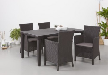 Allibert Dining Sessel Iowa mit Kissen, braun/taupe