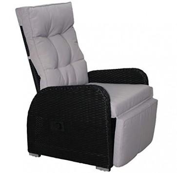 KMH®, Polyrattan Liegestuhl Bob inklusive Auflage! (schwarzes Polyrattan - graue Auflage) (#106024)