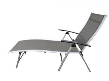 """Extra hohe Luxus Aluminium Gartenliege """"NOX silber"""", klappbar und mehrfach verstellbar, Pure Home & Garden"""